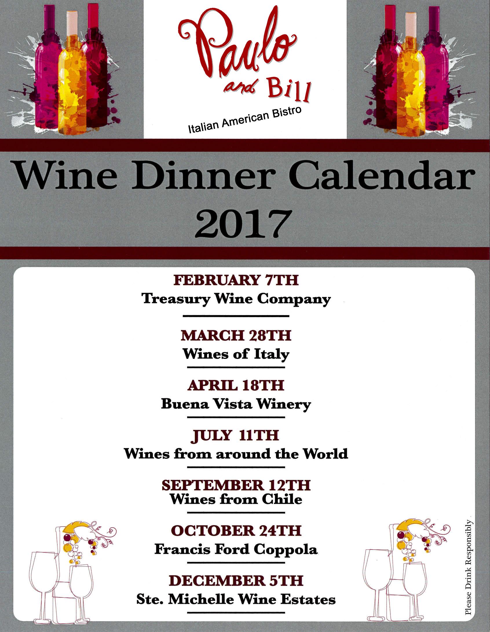 2017 Wine Dinner Schedule