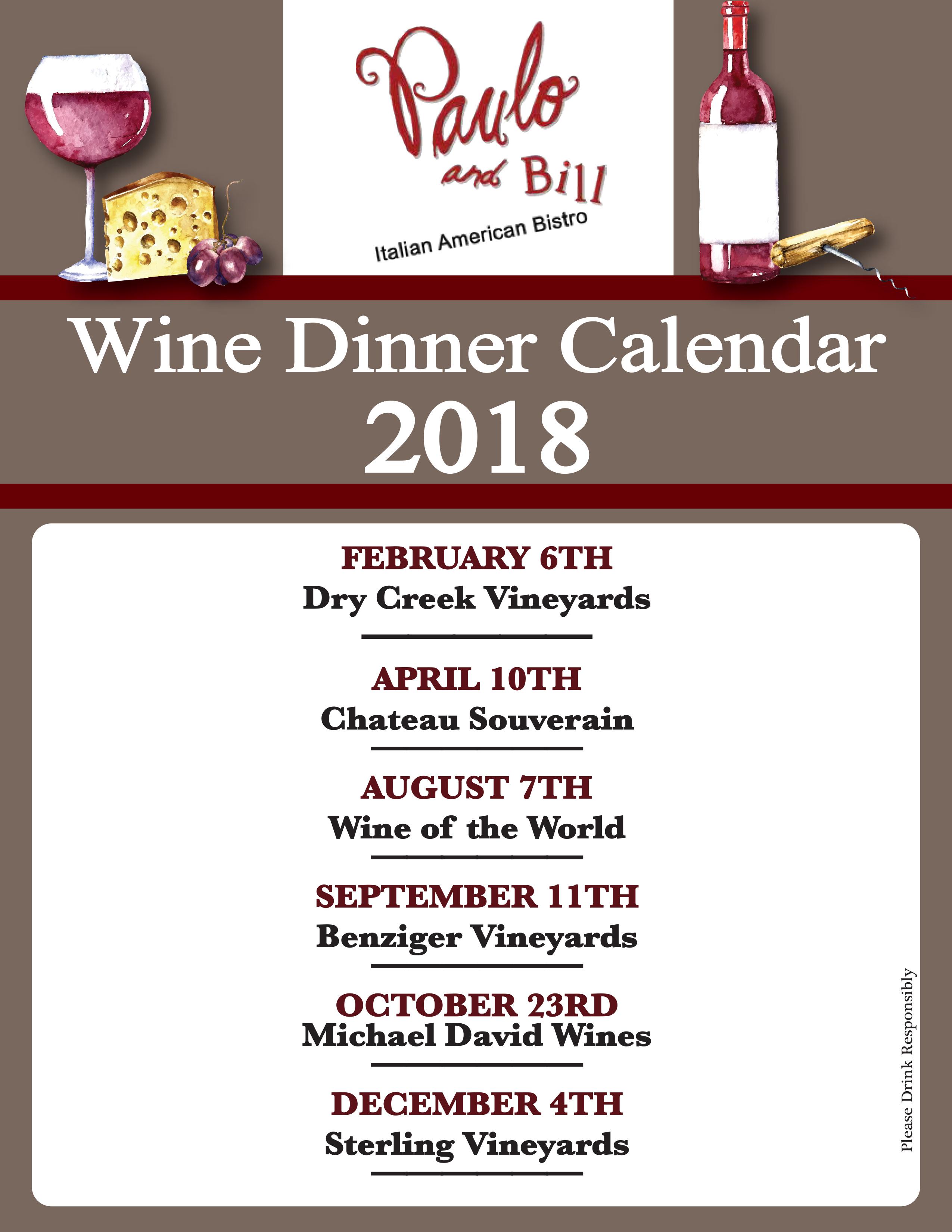 2018 Wine Dinner Schedule