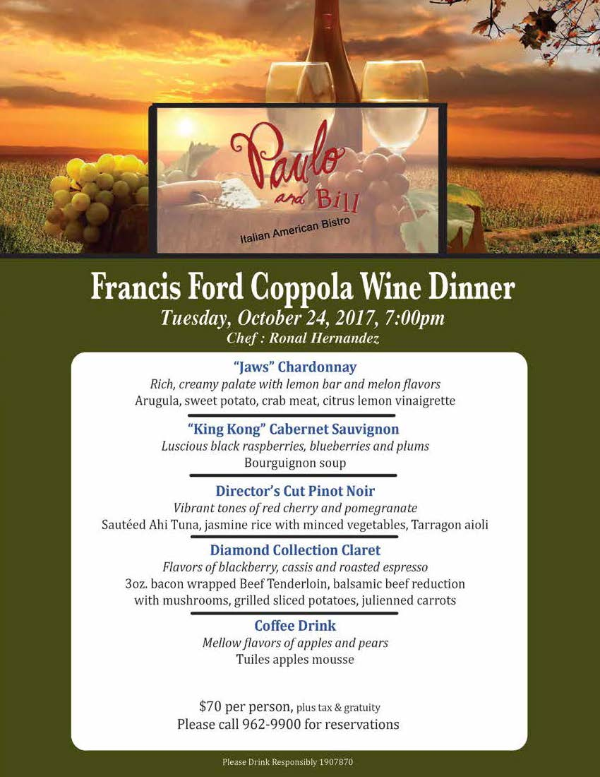Francis Ford Coppola Wine Dinner