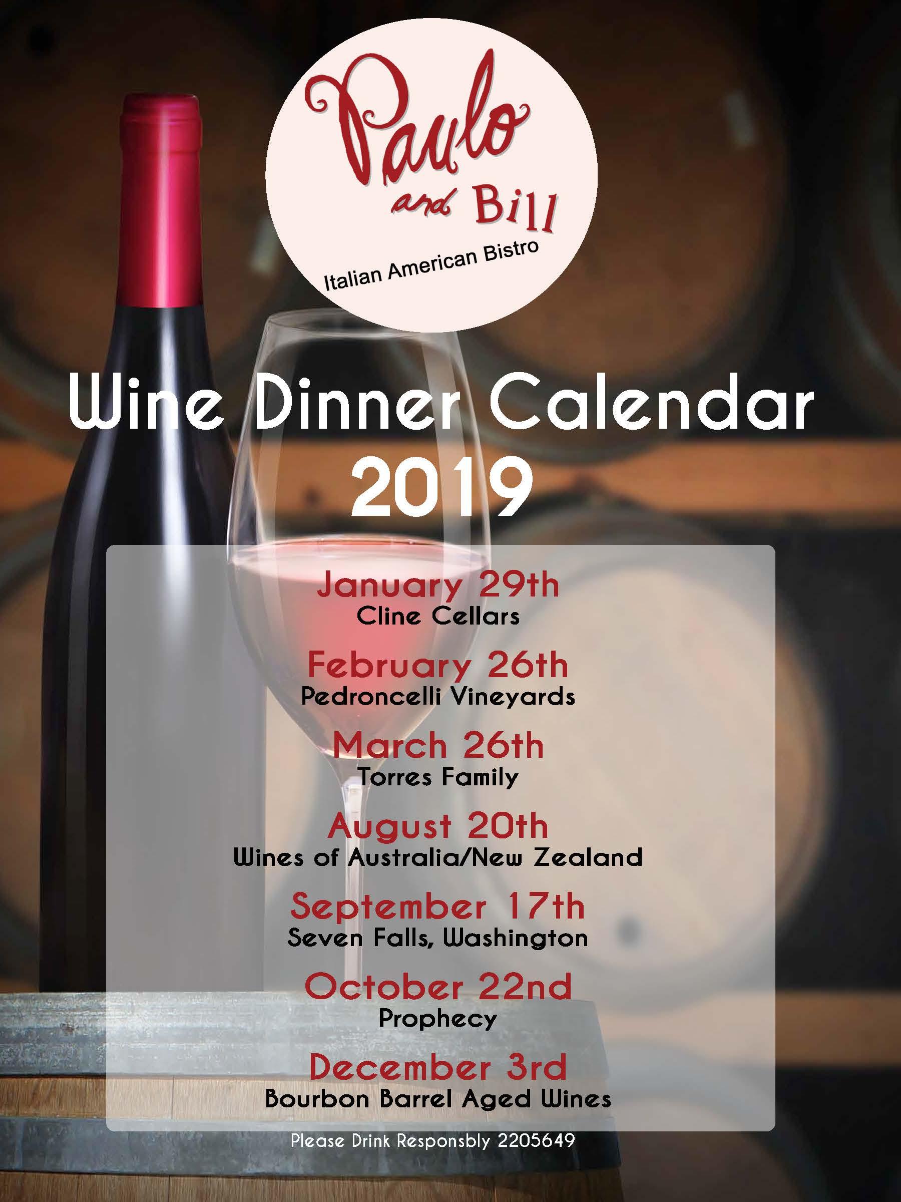 2019 Wine Dinner Schedule
